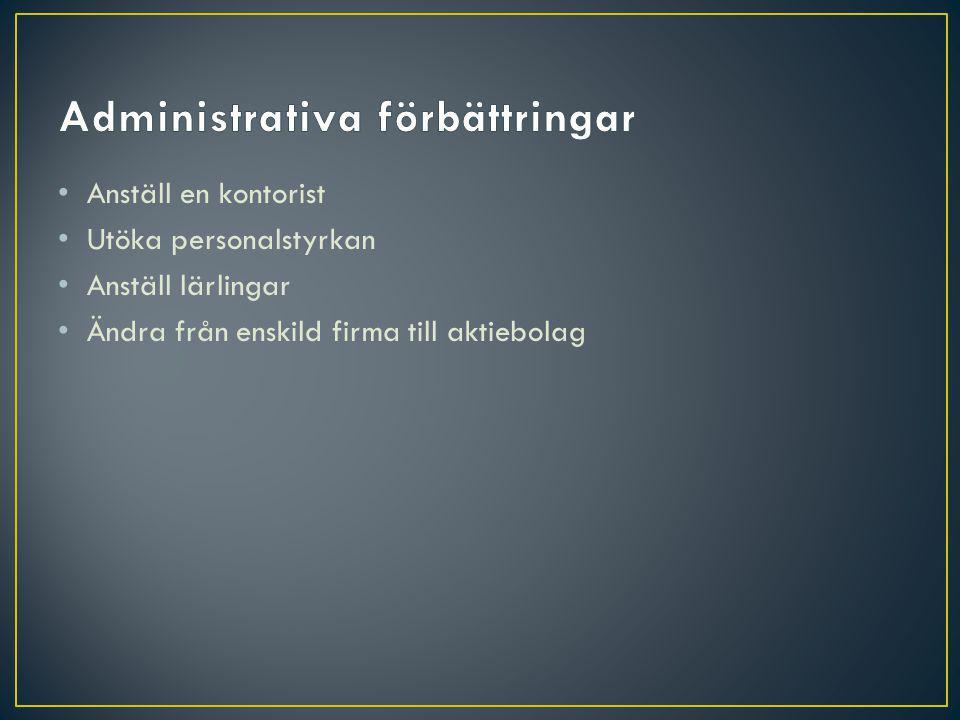 Anställ en kontorist Utöka personalstyrkan Anställ lärlingar Ändra från enskild firma till aktiebolag