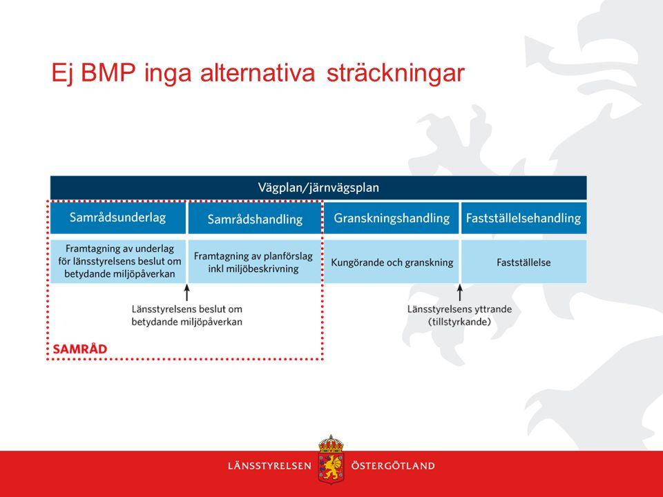 Ej BMP inga alternativa sträckningar