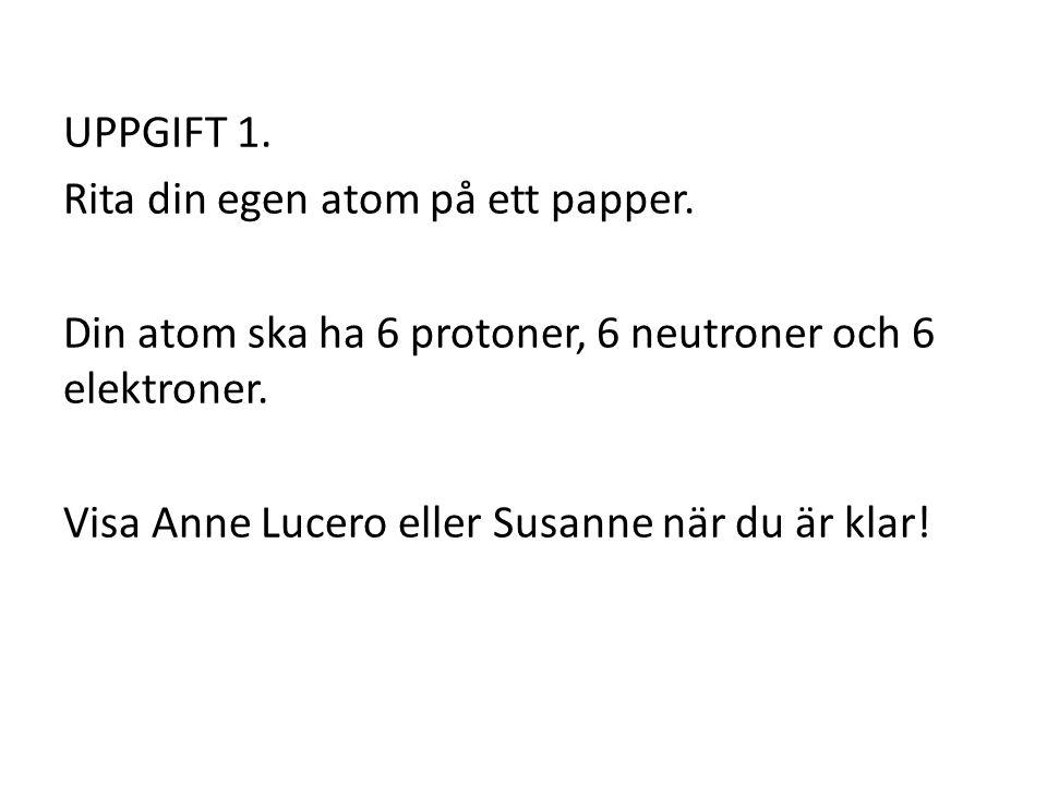 UPPGIFT 1.Rita din egen atom på ett papper.