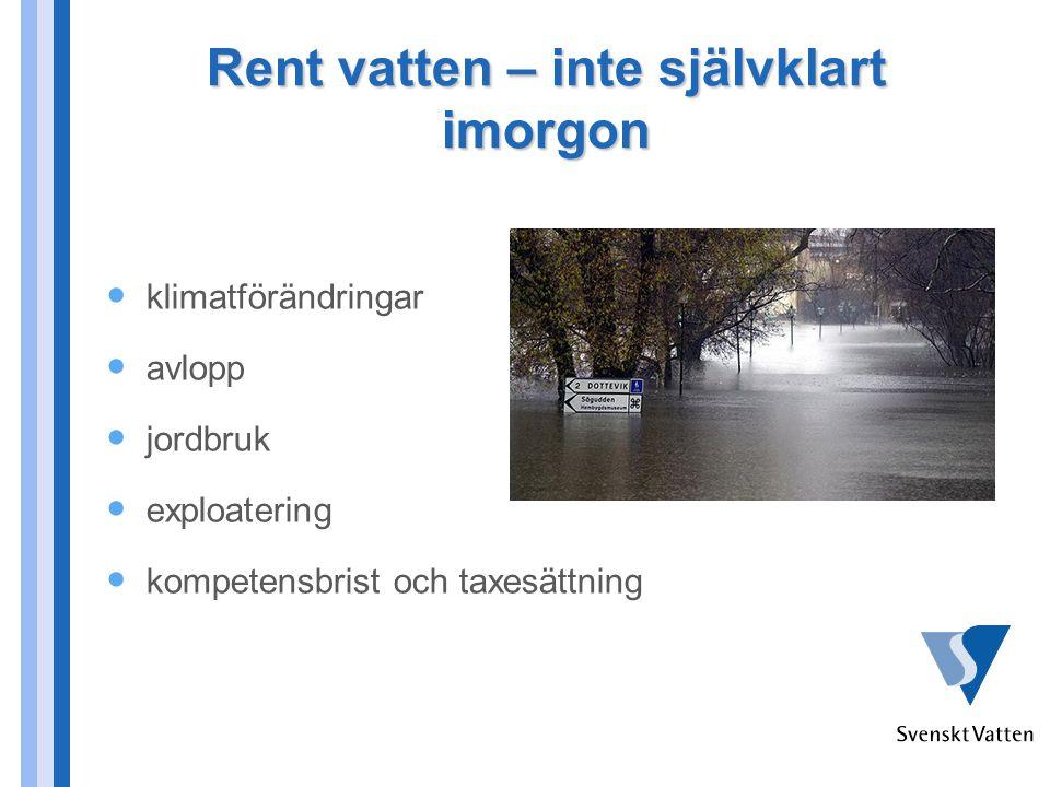 Rent vatten – inte självklart imorgon klimatförändringar avlopp jordbruk exploatering kompetensbrist och taxesättning