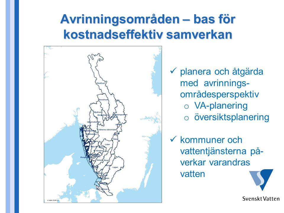 Avrinningsområden – bas för kostnadseffektiv samverkan planera och åtgärda med avrinnings- områdesperspektiv o VA-planering o översiktsplanering kommuner och vattentjänsterna på- verkar varandras vatten