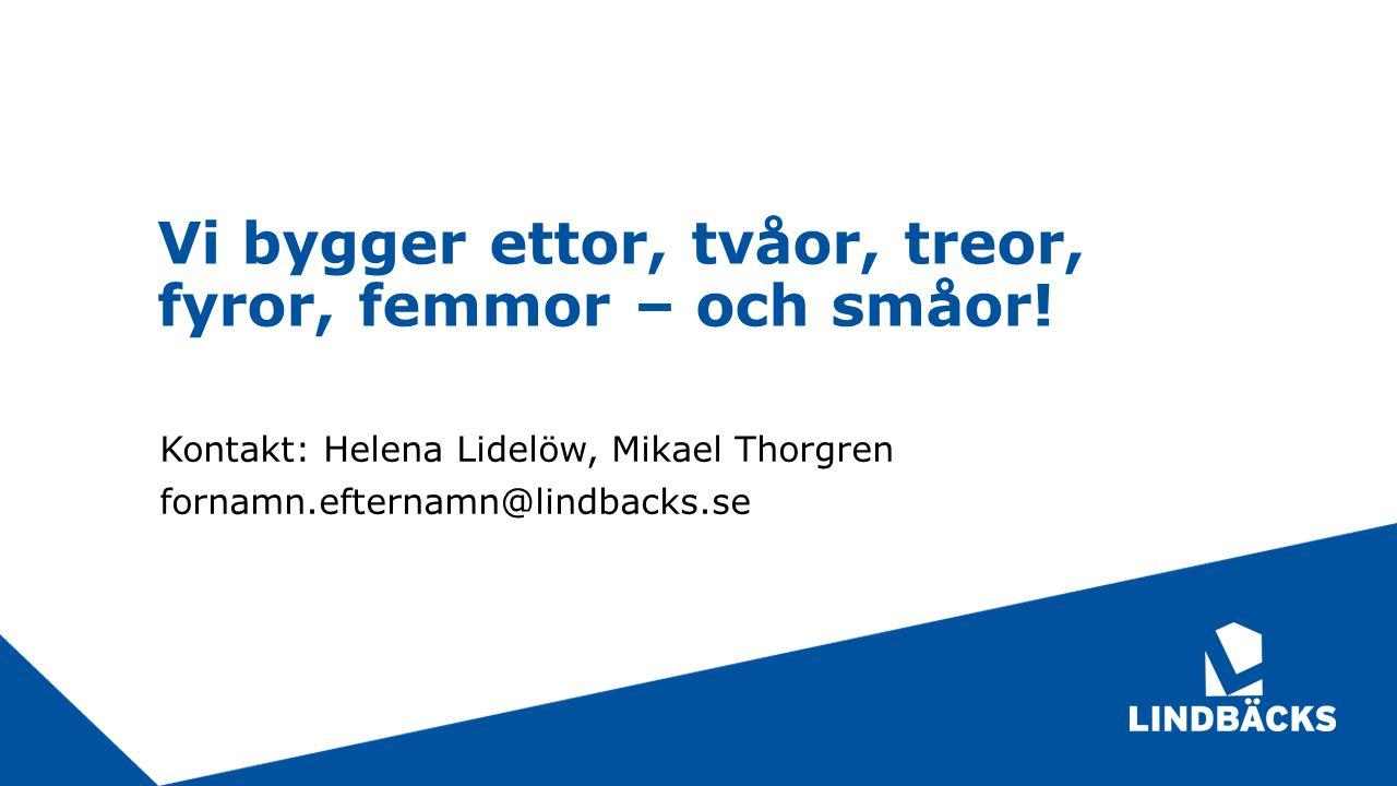 Vi bygger ettor, tvåor, treor, fyror, femmor – och småor! Kontakt: Helena Lidelöw, Mikael Thorgren fornamn.efternamn@lindbacks.se