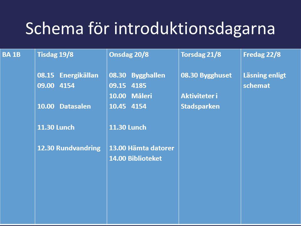 Schema för introduktionsdagarna BA 1BTisdag 19/8 08.15 Energikällan 09.00 4154 10.00 Datasalen 11.30 Lunch 12.30 Rundvandring Onsdag 20/8 08.30 Byggha