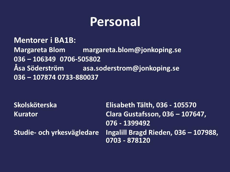 Personal Mentorer i BA1B: Margareta Blommargareta.blom@jonkoping.se 036 – 1063490706-505802 Åsa Söderströmasa.soderstrom@jonkoping.se 036 – 107874 073