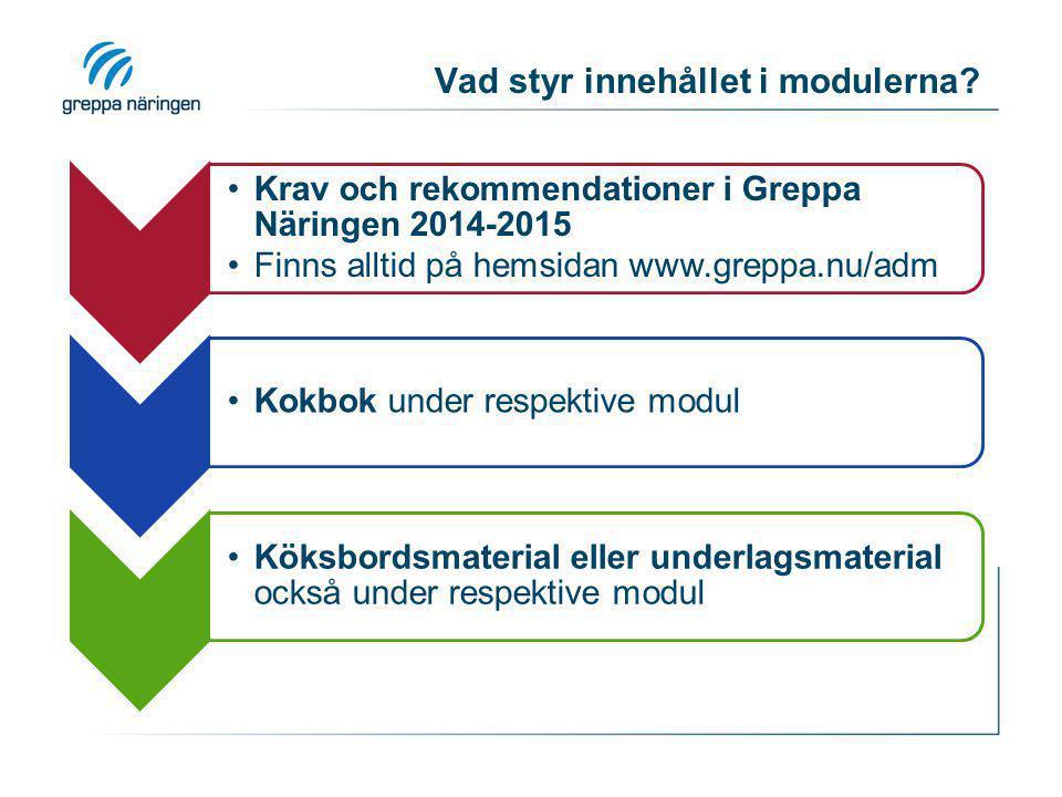 Vad styr innehållet i modulerna? Krav och rekommendationer i Greppa Näringen 2014-2015 Finns alltid på hemsidan www.greppa.nu/adm Kokbok under respekt