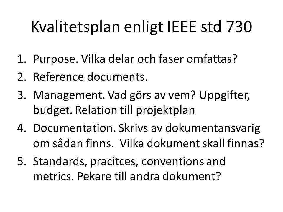 Kvalitetsplan enligt IEEE std 730 1.Purpose. Vilka delar och faser omfattas? 2.Reference documents. 3.Management. Vad görs av vem? Uppgifter, budget.