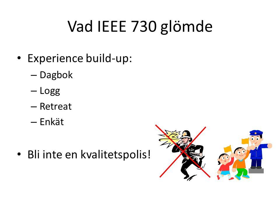 Vad IEEE 730 glömde Experience build-up: – Dagbok – Logg – Retreat – Enkät Bli inte en kvalitetspolis!
