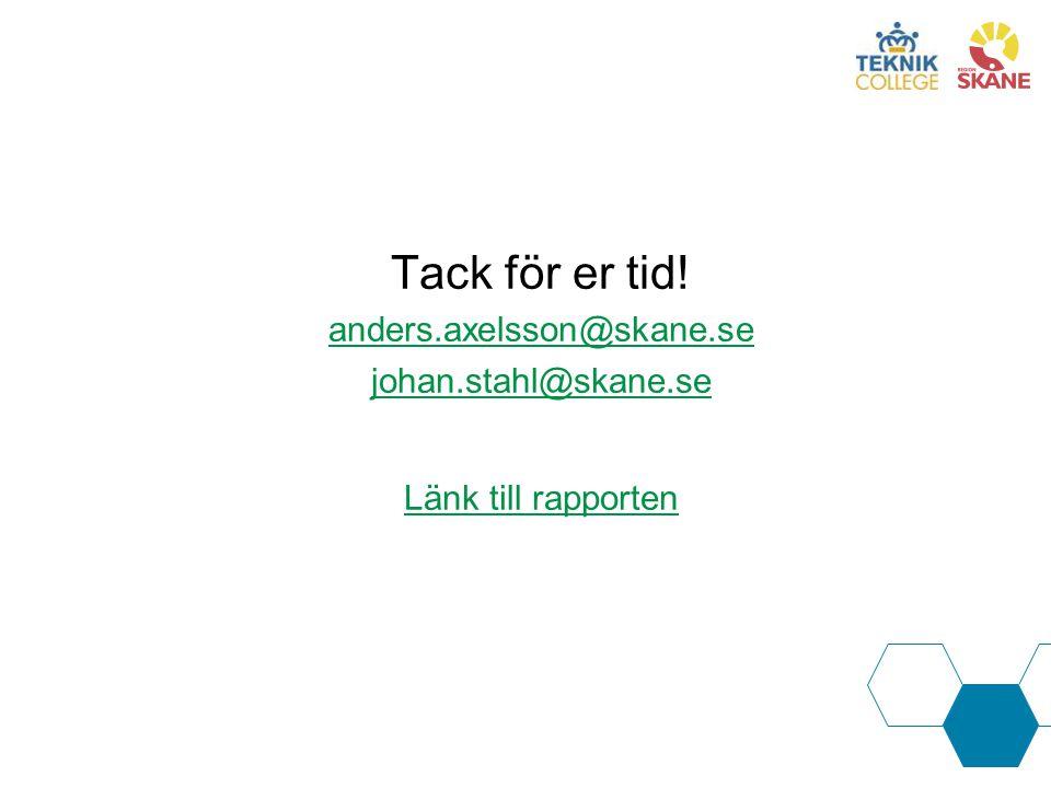 Tack för er tid! anders.axelsson@skane.se johan.stahl@skane.se Länk till rapporten