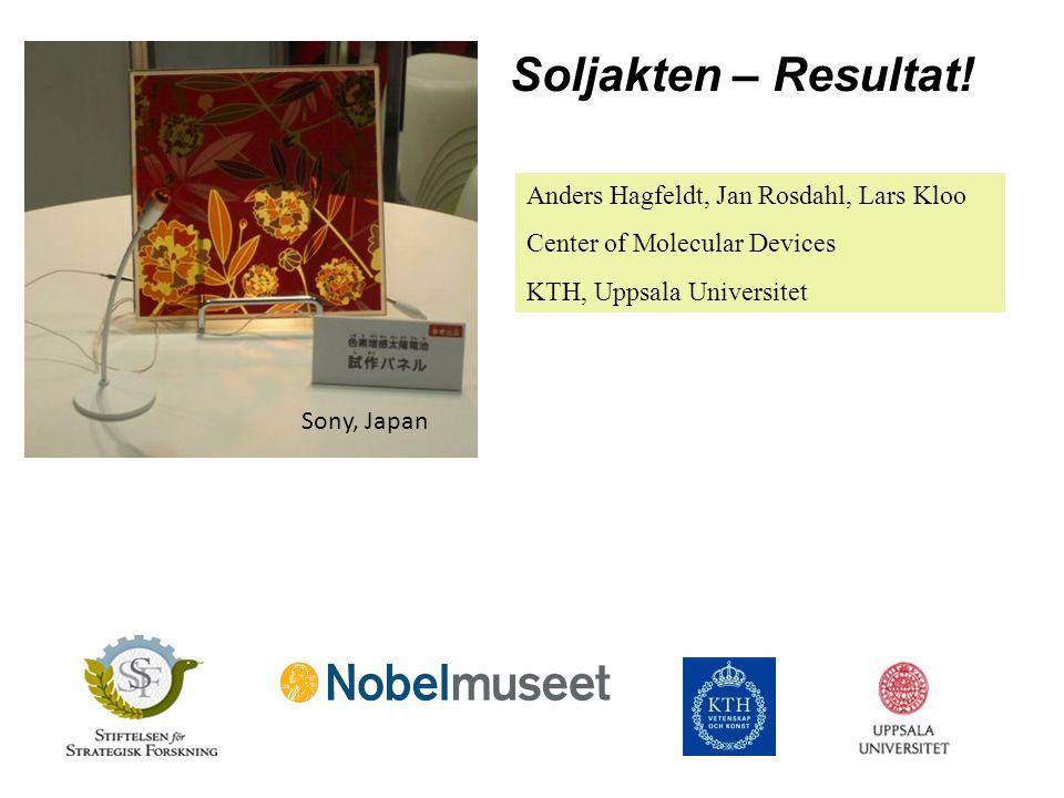Soljakten – Resultat! Anders Hagfeldt, Jan Rosdahl, Lars Kloo Center of Molecular Devices KTH, Uppsala Universitet Sony, Japan