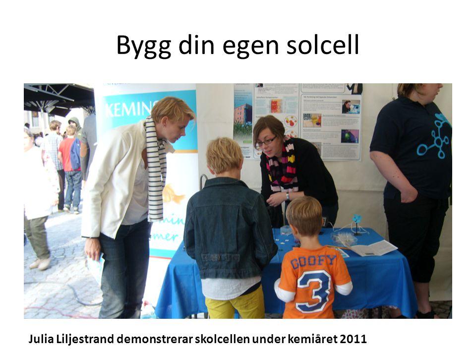 Bygg din egen solcell Julia Liljestrand demonstrerar skolcellen under kemiåret 2011