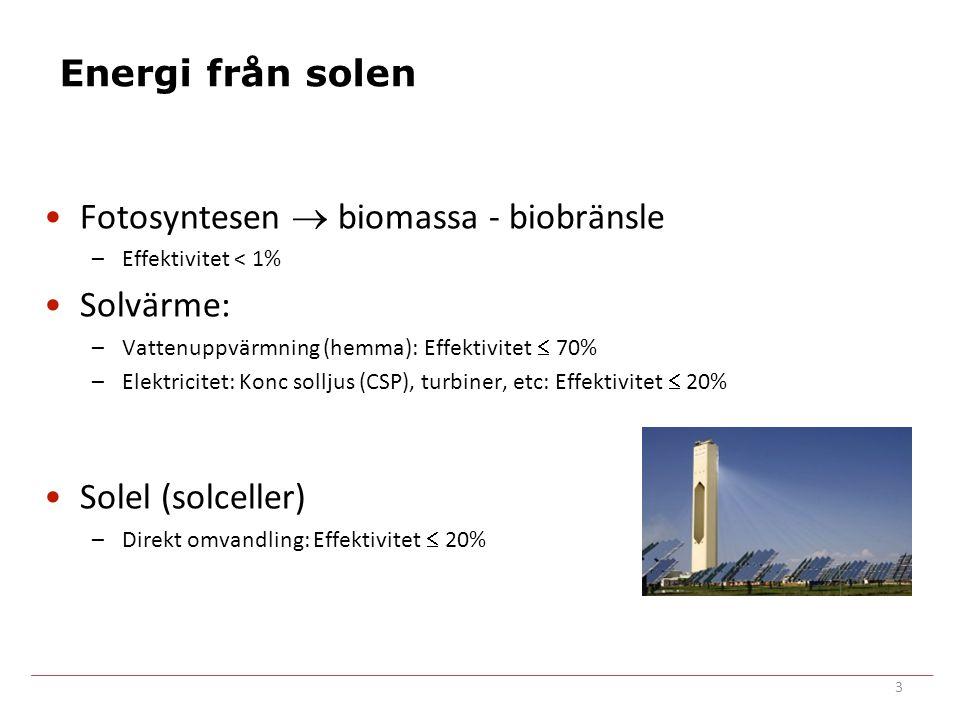 Energi från solen Fotosyntesen  biomassa - biobränsle –Effektivitet < 1% Solvärme: –Vattenuppvärmning (hemma): Effektivitet  70% –Elektricitet: Konc solljus (CSP), turbiner, etc: Effektivitet  20% Solel (solceller) –Direkt omvandling: Effektivitet  20% 3