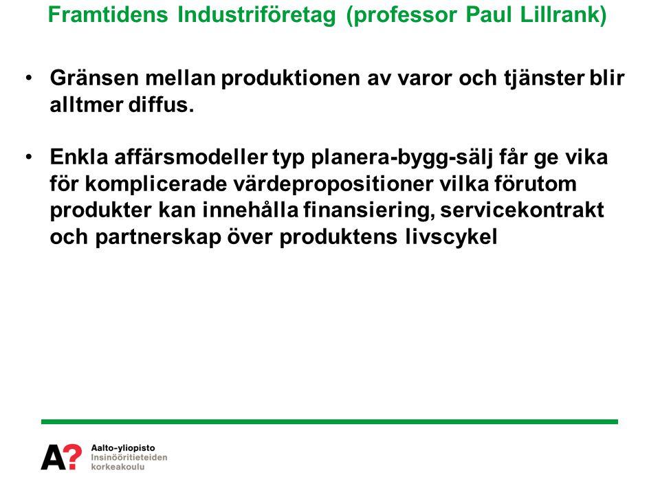 Framtidens Industriföretag (professor Paul Lillrank) Gränsen mellan produktionen av varor och tjänster blir alltmer diffus.