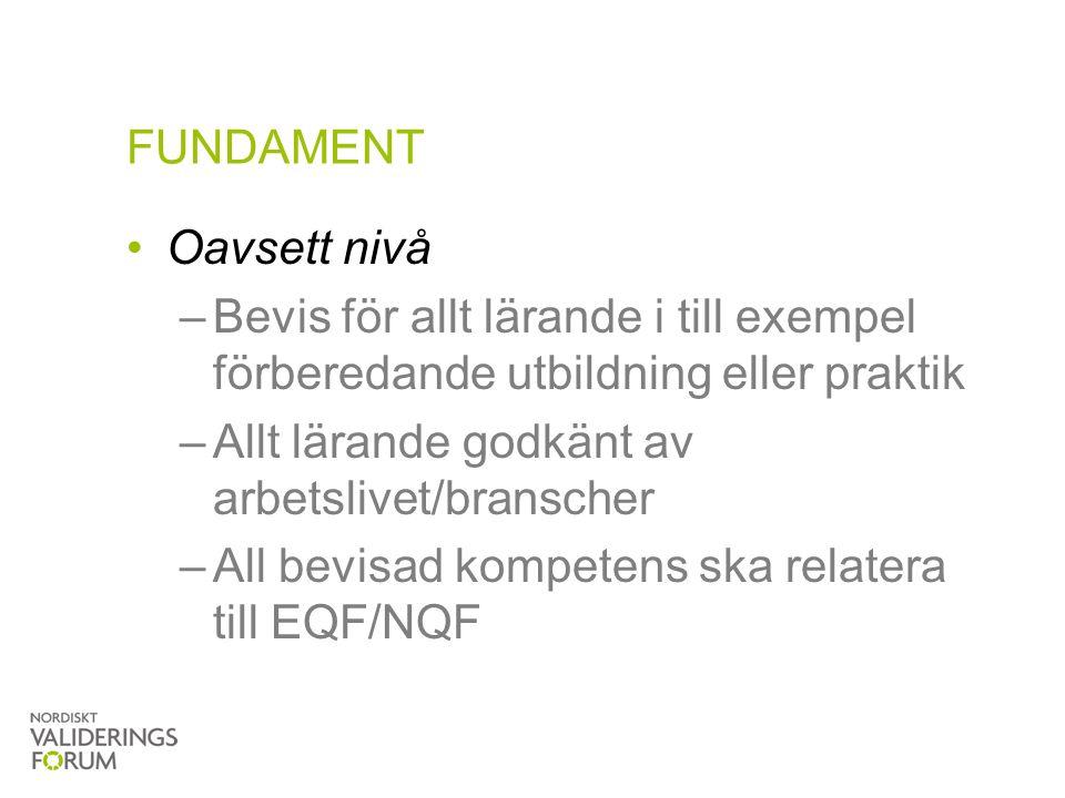 FUNDAMENT Oavsett nivå –Bevis för allt lärande i till exempel förberedande utbildning eller praktik –Allt lärande godkänt av arbetslivet/branscher –Al