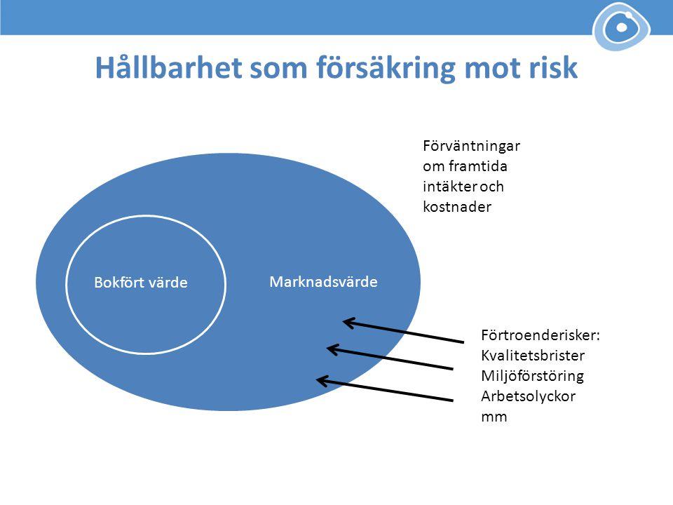 Bokfört värde Förväntningar om framtida intäkter och kostnader Hållbarhet som försäkring mot risk Marknadsvärde Förtroenderisker: Kvalitetsbrister Mil