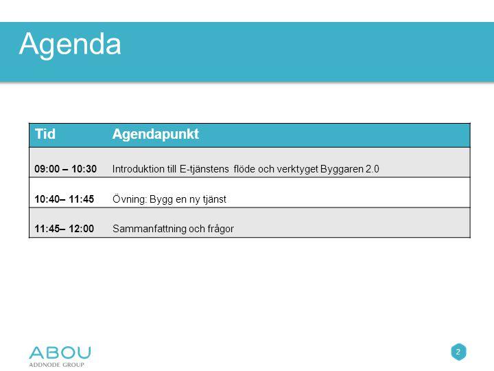 2 TidAgendapunkt 09:00 – 10:30Introduktion till E-tjänstens flöde och verktyget Byggaren 2.0 10:40– 11:45Övning: Bygg en ny tjänst 11:45– 12:00Sammanfattning och frågor Agenda
