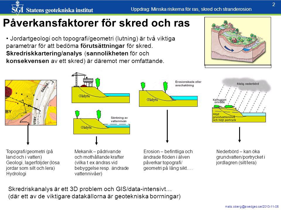 2 mats.oberg@swedgeo.se/2013-11-05 2 Jordartgeologi och topografi/geometri (lutning) är två viktiga parametrar för att bedöma förutsättningar för skred.