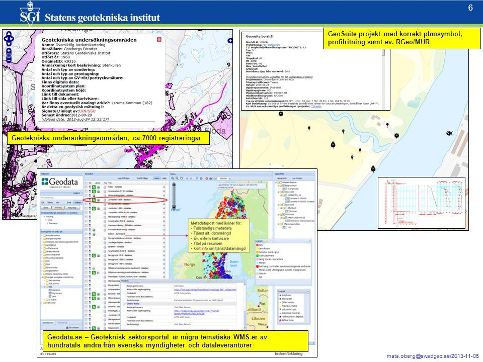 6 mats.oberg@swedgeo.se/2013-11-05 6 Geotekniska undersökningsområden, ca 7000 registreringar Geodata.se – Geoteknisk sektorsportal är några tematiska WMS-er av hundratals andra från svenska myndigheter och dataleverantörer GeoSuite-projekt med korrekt plansymbol, profilritning samt ev.