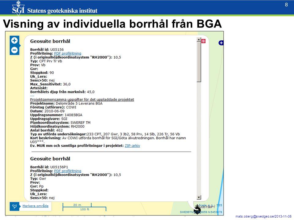 8 mats.oberg@swedgeo.se/2013-11-05 8 Visning av individuella borrhål från BGA