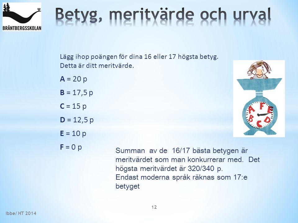 Ibbe/ HT 2014 12 Summan av de 16/17 bästa betygen är meritvärdet som man konkurrerar med. Det högsta meritvärdet är 320/340 p. Endast moderna språk rä
