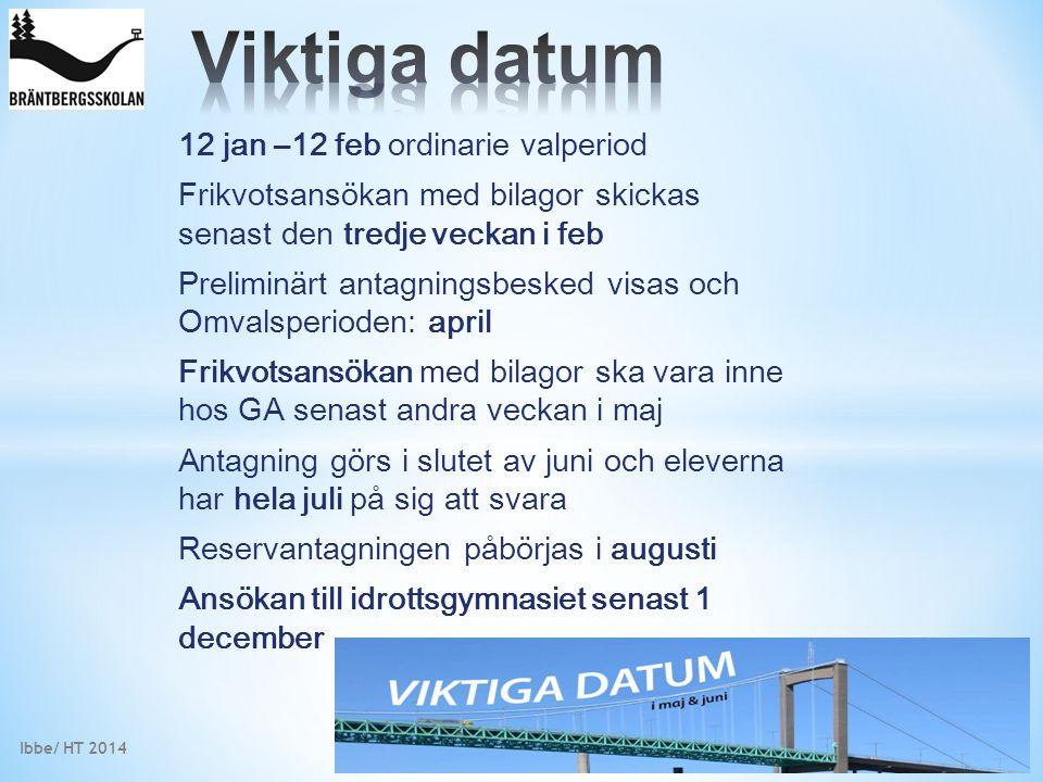 12 jan –12 feb ordinarie valperiod Frikvotsansökan med bilagor skickas senast den tredje veckan i feb Preliminärt antagningsbesked visas och Omvalsper