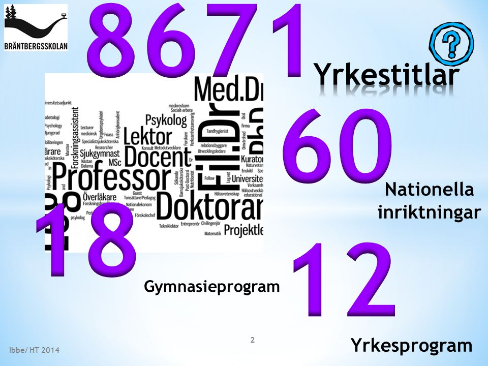 Gymnasieprogram Nationella inriktningar Yrkesprogram 2