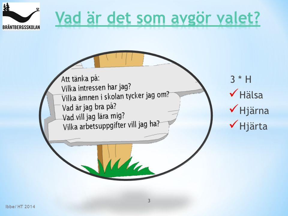 Ibbe/ HT 2014 3 * H Hälsa Hjärna Hjärta