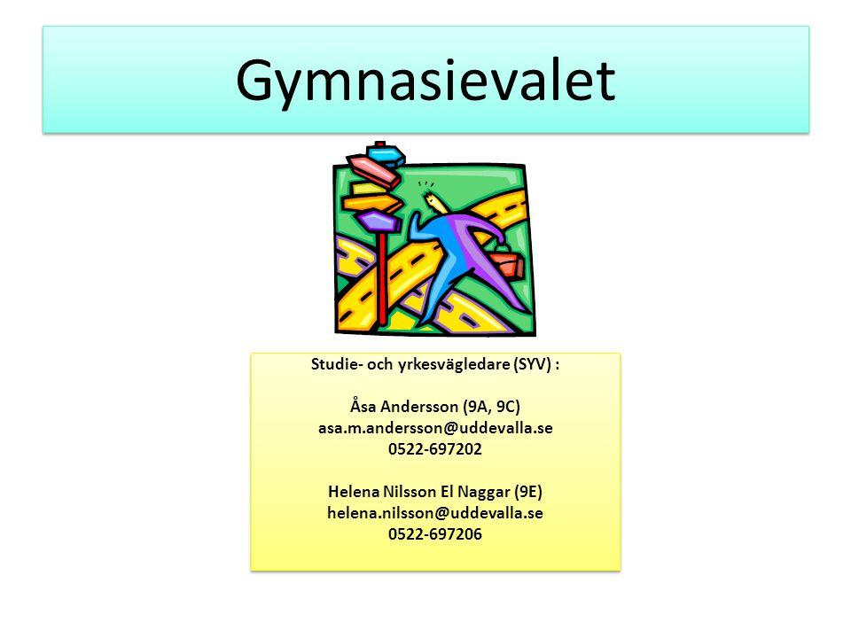 Gymnasievalet Studie- och yrkesvägledare (SYV) : Åsa Andersson (9A, 9C) asa.m.andersson@uddevalla.se 0522-697202 Helena Nilsson El Naggar (9E) helena.