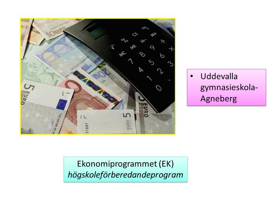 Uddevalla gymnasieskola- Agneberg Ekonomiprogrammet (EK) högskoleförberedandeprogram Ekonomiprogrammet (EK) högskoleförberedandeprogram
