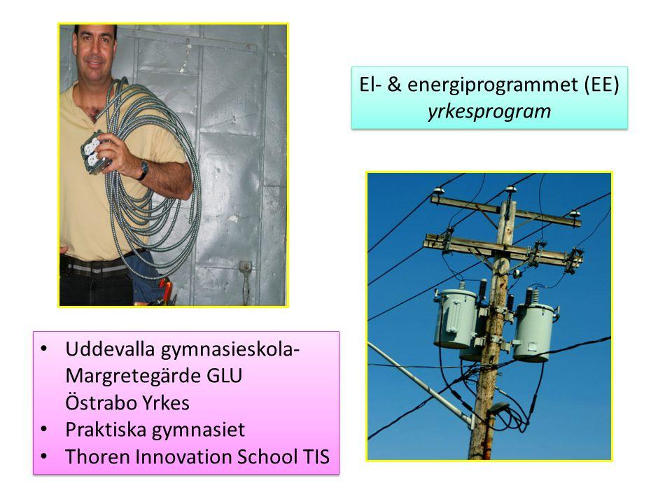 El- & energiprogrammet (EE) yrkesprogram El- & energiprogrammet (EE) yrkesprogram Uddevalla gymnasieskola- Margretegärde GLU Östrabo Yrkes Praktiska g