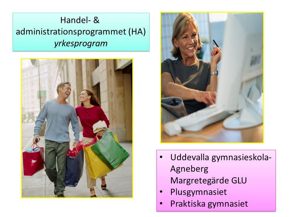 Handel- & administrationsprogrammet (HA) yrkesprogram Handel- & administrationsprogrammet (HA) yrkesprogram Uddevalla gymnasieskola- Agneberg Margrete