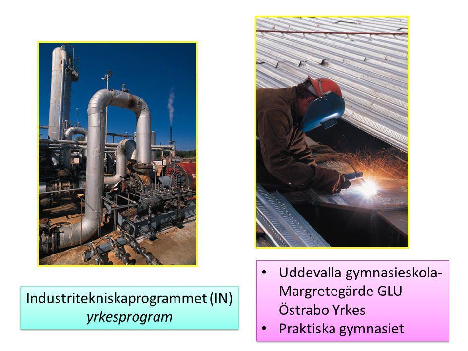 Industritekniskaprogrammet (IN) yrkesprogram Industritekniskaprogrammet (IN) yrkesprogram Uddevalla gymnasieskola- Margretegärde GLU Östrabo Yrkes Pra