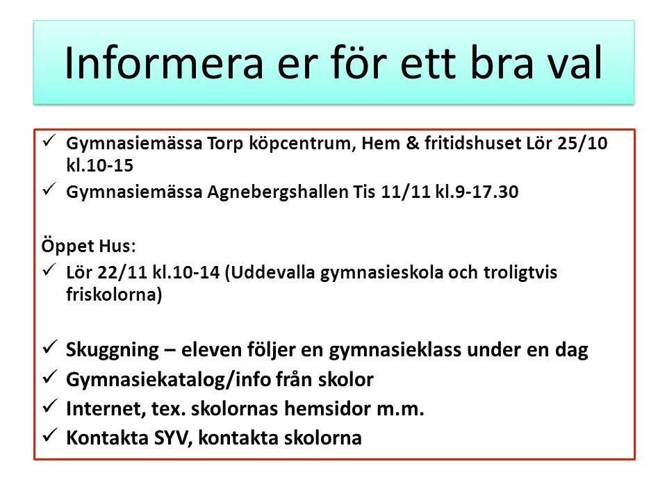 Informera er för ett bra val Gymnasiemässa Torp köpcentrum, Hem & fritidshuset Lör 25/10 kl.10-15 Gymnasiemässa Agnebergshallen Tis 11/11 kl.9-17.30 Ö
