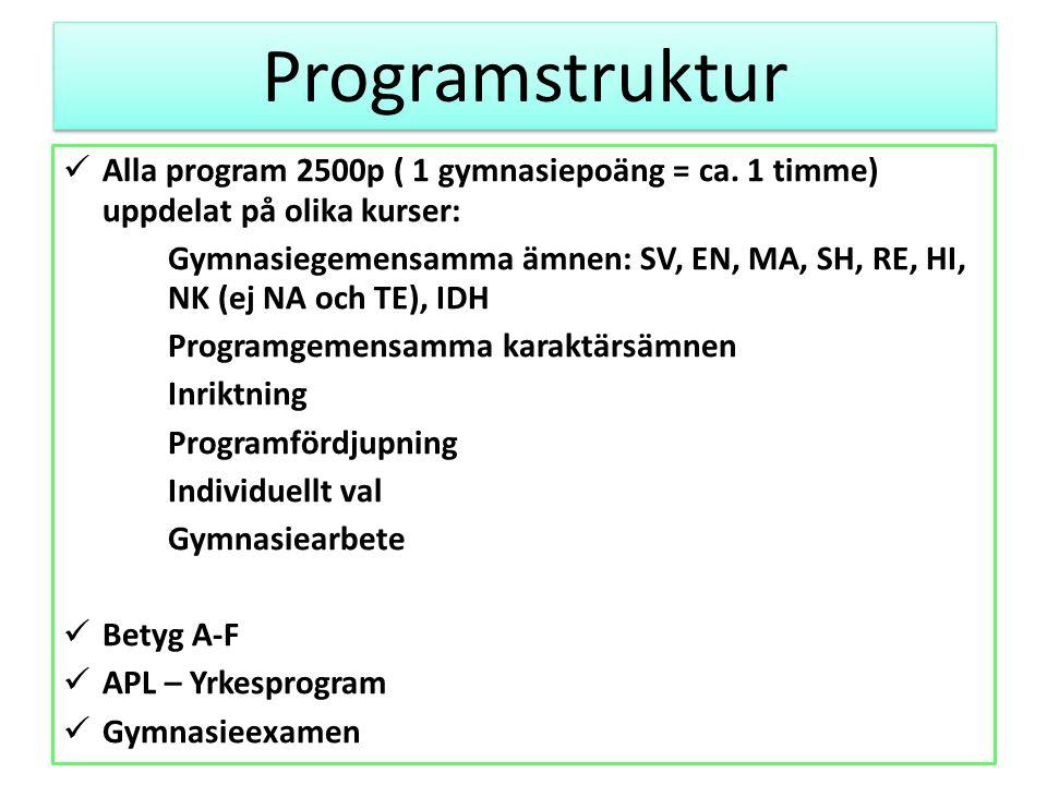 Programstruktur Alla program 2500p ( 1 gymnasiepoäng = ca. 1 timme) uppdelat på olika kurser: Gymnasiegemensamma ämnen: SV, EN, MA, SH, RE, HI, NK (ej