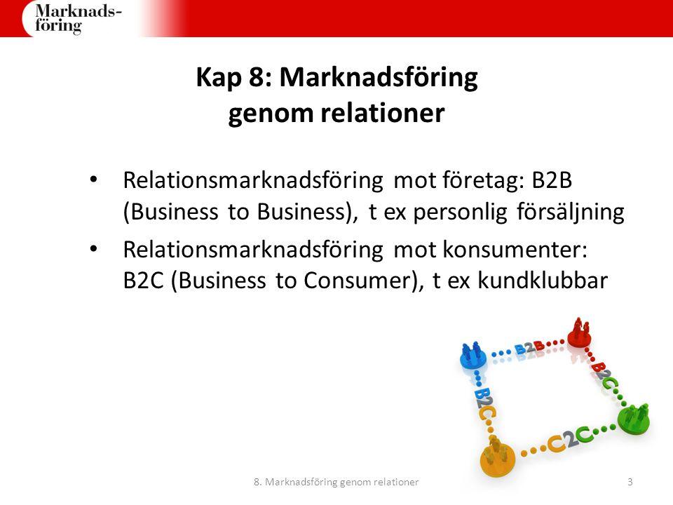 Kap 8: Marknadsföring genom relationer Relationsmarknadsföring mot företag: B2B (Business to Business), t ex personlig försäljning Relationsmarknadsfö