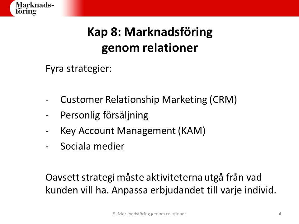 Kap 8: Marknadsföring genom relationer Fyra strategier: -Customer Relationship Marketing (CRM) -Personlig försäljning -Key Account Management (KAM) -S