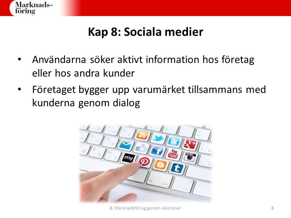Kap 8: Sociala medier Användarna söker aktivt information hos företag eller hos andra kunder Företaget bygger upp varumärket tillsammans med kunderna
