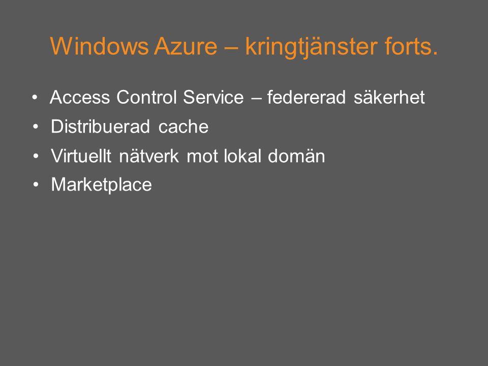 Windows Azure – kringtjänster forts.