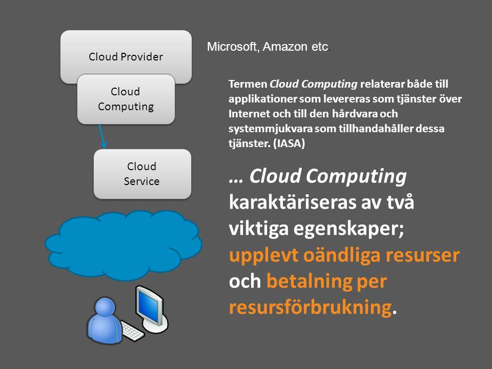 Cloud Provider Cloud Computing Cloud Service Cloud Service Microsoft, Amazon etc.