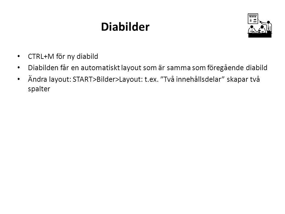 """Diabilder CTRL+M för ny diabild Diabilden får en automatiskt layout som är samma som föregående diabild Ändra layout: START>Bilder>Layout: t.ex. """"Två"""