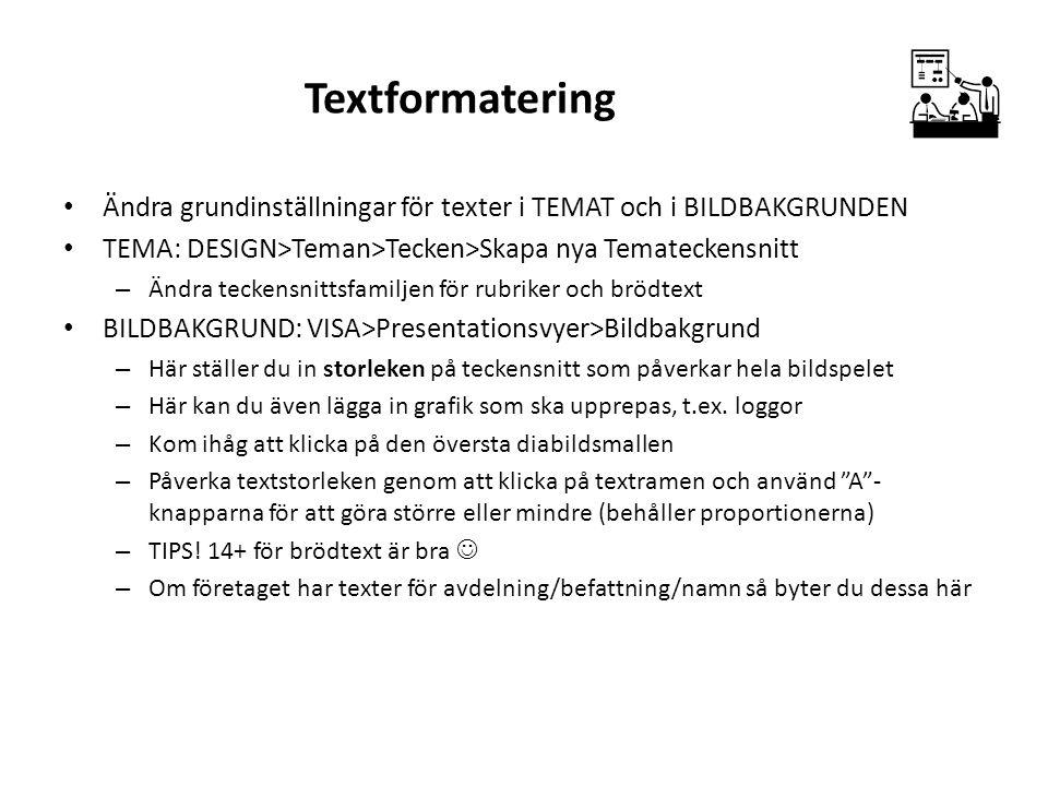 Textformatering Ändra grundinställningar för texter i TEMAT och i BILDBAKGRUNDEN TEMA: DESIGN>Teman>Tecken>Skapa nya Temateckensnitt – Ändra teckensni