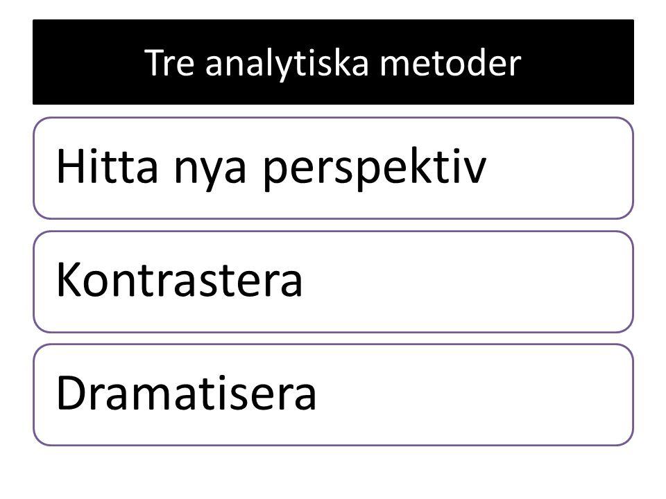 Tre analytiska metoder Hitta nya perspektivKontrasteraDramatisera