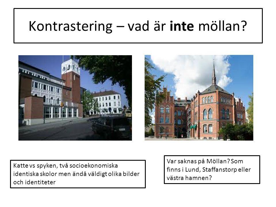 Kontrastering – vad är inte möllan? Katte vs spyken, två socioekonomiska identiska skolor men ändå väldigt olika bilder och identiteter Var saknas på