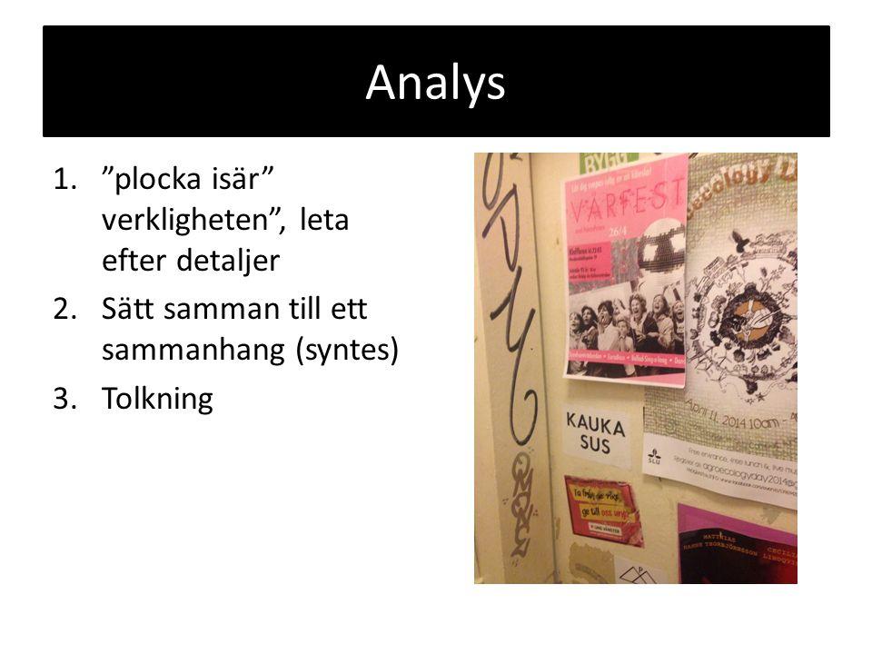 Analys 1. plocka isär verkligheten , leta efter detaljer 2.Sätt samman till ett sammanhang (syntes) 3.Tolkning