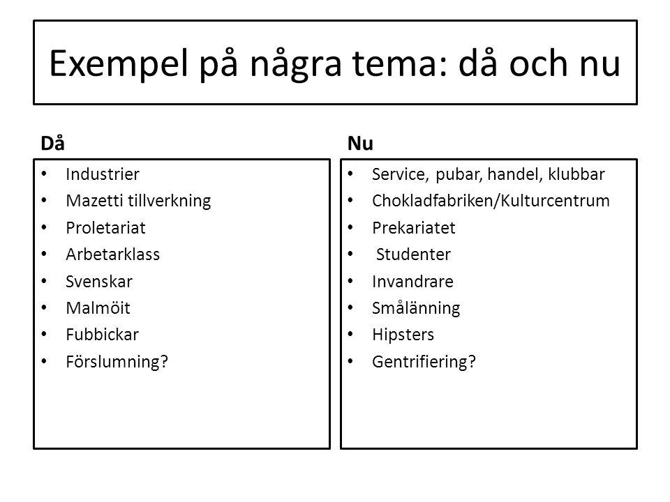 Exempel på några tema: då och nu Då Industrier Mazetti tillverkning Proletariat Arbetarklass Svenskar Malmöit Fubbickar Förslumning? Nu Service, pubar