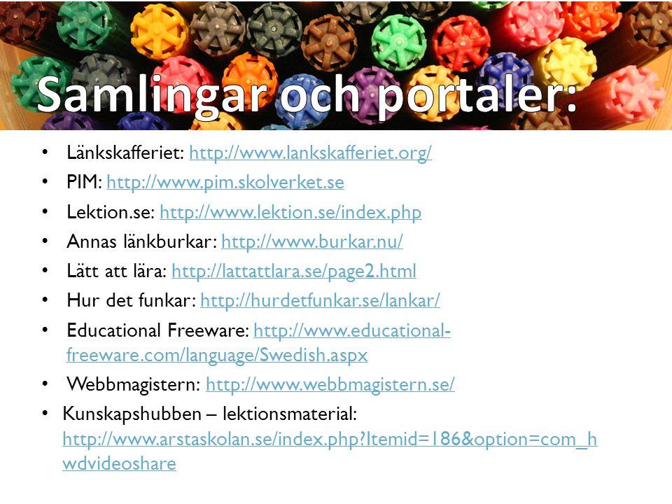 Länkskafferiet: http://www.lankskafferiet.org/http://www.lankskafferiet.org/ PIM: http://www.pim.skolverket.sehttp://www.pim.skolverket.se Lektion.se:
