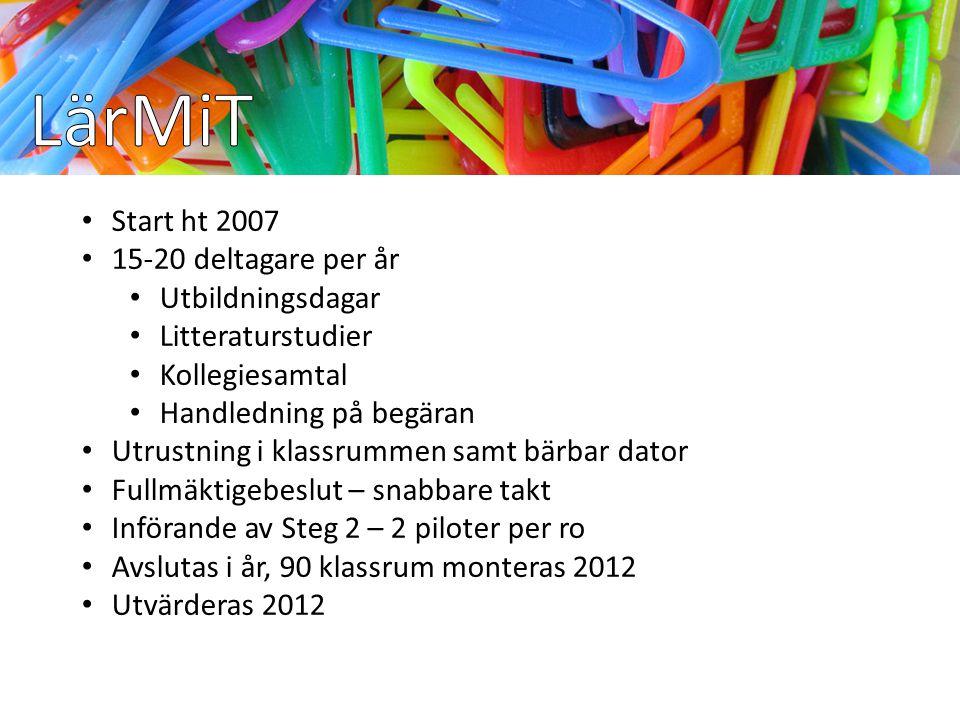 Start ht 2007 15-20 deltagare per år Utbildningsdagar Litteraturstudier Kollegiesamtal Handledning på begäran Utrustning i klassrummen samt bärbar dat