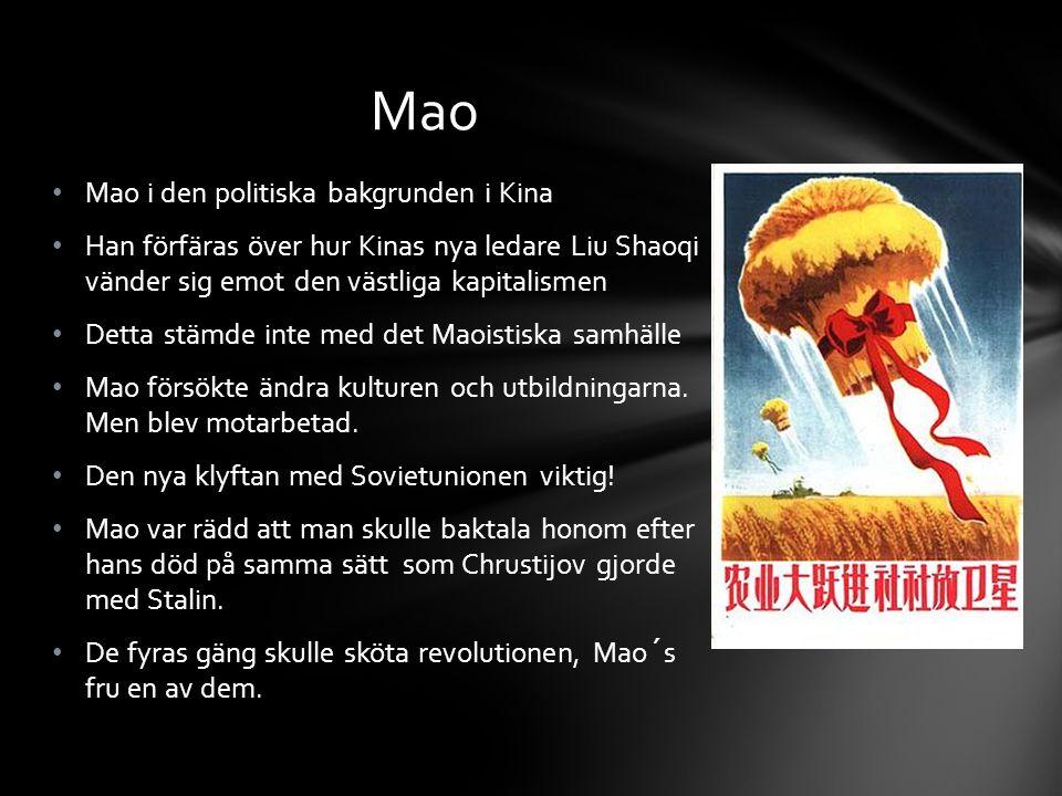 Mao i den politiska bakgrunden i Kina Han förfäras över hur Kinas nya ledare Liu Shaoqi vänder sig emot den västliga kapitalismen Detta stämde inte med det Maoistiska samhälle Mao försökte ändra kulturen och utbildningarna.