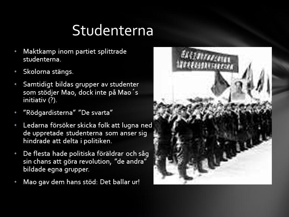 Maktkamp inom partiet splittrade studenterna. Skolorna stängs. Samtidigt bildas grupper av studenter som stödjer Mao, dock inte på Mao´s initiativ (?)