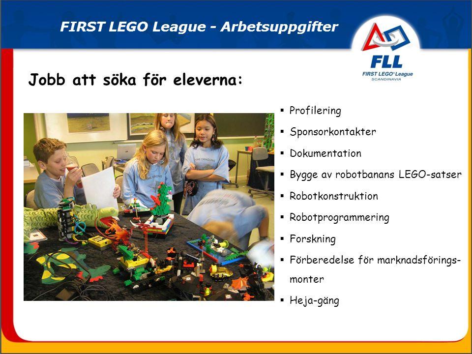 Profilering  Sponsorkontakter  Dokumentation  Bygge av robotbanans LEGO-satser  Robotkonstruktion  Robotprogrammering  Forskning  Förberedelse för marknadsförings- monter  Heja-gäng Jobb att söka för eleverna: FIRST LEGO League - Arbetsuppgifter