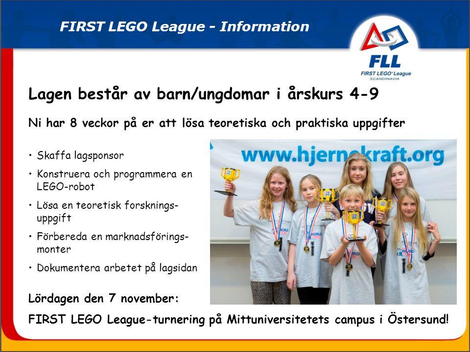 FIRST LEGO League - i Skandinavien Tävlingsorter i Skandinavien 2014 (Ny bild för 2015 kommer...)